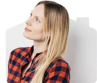 Wistful woman in a check shirt